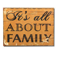 "Decorative Wood Wall Hanging Sign Plaque ""It's All About Family"" Black Gold Home Decor"