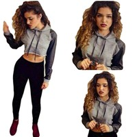 Women Hoodies Sexy Long Sleeve Crop Top PU Leather Patchwork Streetwear Short Tracksuits Sweatshirts Pullovers KH660871