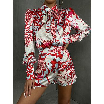 Tie Neck Graphic Print Puff Sleeve Blouse & Shorts