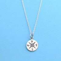Sterling silver, Compass, Silver, Necklace, Birthday, Friendship, Mom, Sister, Gift, Jewelry
