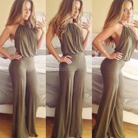 Women's Casual Halter Off-shoulder Backless Sexy Solid Long Jumpsuit Romper