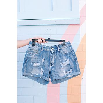 Raleigh Rolled Cuff Distressed Shorts, Light Blue