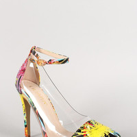 Liliana Floral Lucite Ankle Strap Pointy Toe Pump Color: Floral Multi, Size: 8