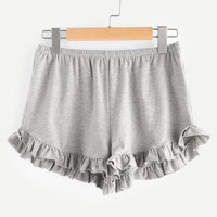 Elasticized Waist Frill Trim Heathered Shorts