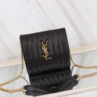 YSL SAINT LAURENT WOMEN'S LEATHER VICKY INCLINED SHOULDER BAG