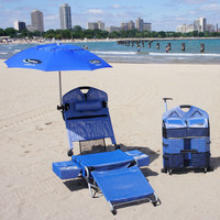 Beach Lounger Pack Chair with Coolers at Brookstone—Buy Now!