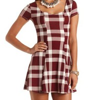 Textured Plaid Skater Dress by Charlotte Russe - White Combo