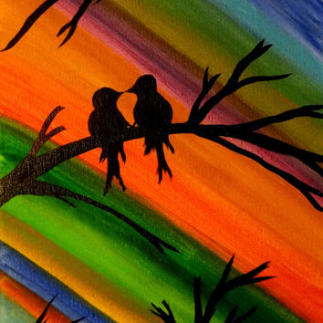 Love bird painting Colorful art Bird lover Valentines gift Contemporary Canvas wall decor Acrylic painting Canvas art Lovers gift Tree art