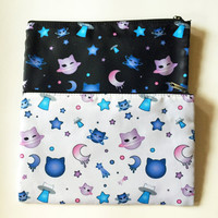 Kawaii Cute Harajuku Cat Neko Star Moon Planet Space Galaxy Anime Manga Pastel Goth Soft Grunge Uchuu Kei Pouch Pencil Make Up Bag (Large)