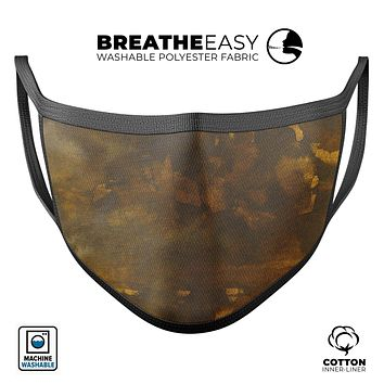 Abstract Dark Gray and Gold Shards - Made in USA Mouth Cover Unisex Anti-Dust Cotton Blend Reusable & Washable Face Mask with Adjustable Sizing for Adult or Child