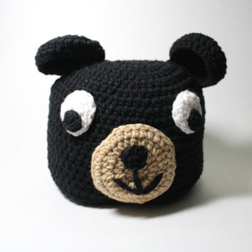 Black Bear Beanie, Crochet Animal Hat, Black Winter Skullcap, Bear Accessories, Animal Beanie, Cyber Monday