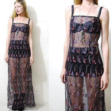 Sheer Black Dress 90s Vintage Dress Long Maxi Embroidered 1990s vtg Dress Grunge Dress Black Mesh Dress Goth Bohemian Boho xs s