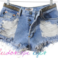 Mid Rise STUDDED Denim Cut Off Shorts w/ Embroidered Southwest Trim XS