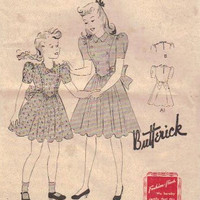 Butterick 1930s Sewing Pattern Girls Day Party Dress Full Skirt Back Bow Puff Sleeves High Neck Ruffle Trim V Shaped Bodice Bust 24