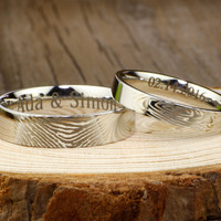 Your Actual Finger Print Rings,  His and Her Promise Rings -White Gold Plain Wedding Titanium Rings Set