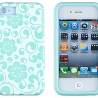 DandyCase 2in1 Hybrid High Impact Hard Sea Green Floral Pattern + Silicone Case Cover For Apple iPhone 4S & iPhone 4 + DandyCase Screen Cleaner