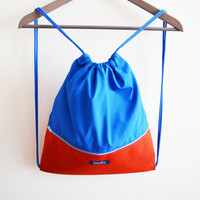 Summer gym bag backpack beach bag festival bag water resistant waterproof color block blue orange hipster colorful happy minimalist backpack