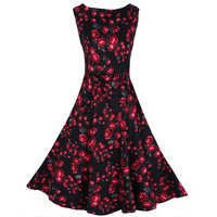 Sleeveless Floral Mid-calf Length Dress