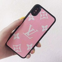 LV Louis Vuitton New fashion monogram print leather protective cover phone case Pink