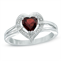 6.0mm Heart-Shaped Garnet and Diamond Accent Ring in Sterling Silver