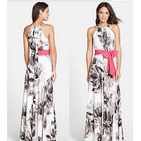 fhotwinter19 Explosive round neck sleeveless sexy elegant fluttering print dress