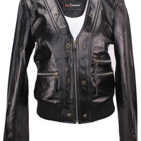 Womens Scarlet Short Cut Leather Jacket - Clearance