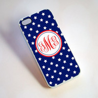 Red White and Blue Stars Monogram iPhone Case - summer, independence day, 4th of july