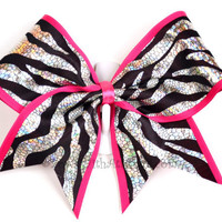 3 Wide Luxury Cheer Bow  Metallic Zebra w/Hot by BowsWithAttitude