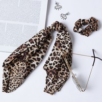 Leopard Scrunchie And Scarf Set