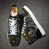 Christian Louboutin CL Rhinestone Mid Strass Style #1913 Sneakers Fashion Shoes Best Deal Online