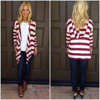 Bottom Line Hooded Cardigan - BURGUNDY