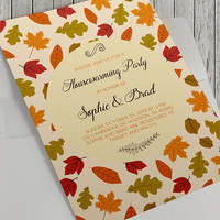 Printable Housewarming Party Invitation, Autumn Housewarming, Autumn Leaves, New Home, Newlyweds, Modern Housewarming, 5x7 Inch