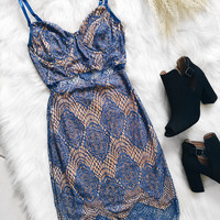 London Eyelash Lace Dress (Cobalt)