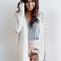Spiked Sleeve Cardigan   Timeless Boutique