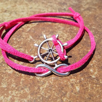 Bright Pink Leather Silver Infinity Rudder Bracelet Anklet Charm Men Women Unisex Fashion New Love Cute Diy Friendship