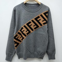 Fendi F Striped Color Letter Round Neck Collar Knitted Sweater-8