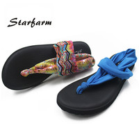 2016 Summer Women Yoga Sole Sling Thong Sandals Beach Flip Flops sandals Flat Sandalias Mujer Shoes Elastic Strap