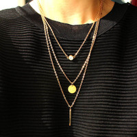 Bar Coin Multi Layers Layering Necklace
