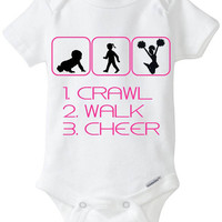 """Funny Silhouette Baby Girl Gift: Gerber Onesuit brand body suit """"1. Crawl 2. Walk 3. Cheer"""" - Perfect new baby gift for the Cheerleader!"""