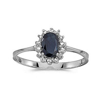 14kt White Gold 6/4mm Blue Sapphire and Diamond Ring