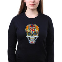 Sugar Skull Head Colorful Day of the Dead Emo Design Punk Long Sleeve T-shirt