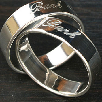 Personalized Ring .925 Sterling Silver Ring Engraved Silver Engraved Ring 6 mm width
