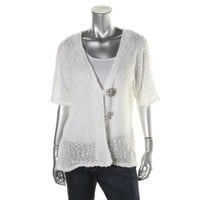 JM Collection Womens Elbow Sleeves Button Closure Cardigan Top