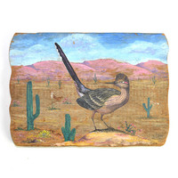 Southwestern Primitive Roadrunner Painted Wall Hanging - American Folk Art Styling on Wood, Artist Signed Painting - Home Decor