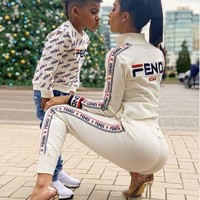 FENDI Autumn Winter Fashion Women Long Sleeve High Collar Knit Sweater Jacket Pants Set Two-Piece
