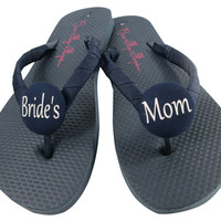 Navy / choose accent colors/ Bride's Mom Wedding Shoes, Flip Flop Sandals