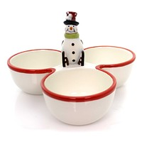 Tabletop FESTIVE SNOWMAN CONDIMENT Earthenware Christmas 3 Sections 64636