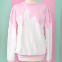 White fairy kei pullover with pink sauce
