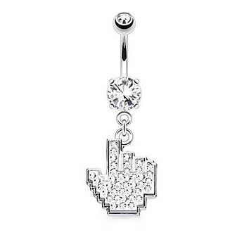 Crystal Paved Like Dangle 316L Surgical Steel WildKlass Belly Button Navel Rings (Clear)