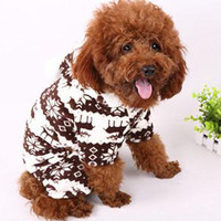 Winter Soft Warm Pet Dog Puppy Clothes Snowflake Deer Printed Hoody Jumpsuit